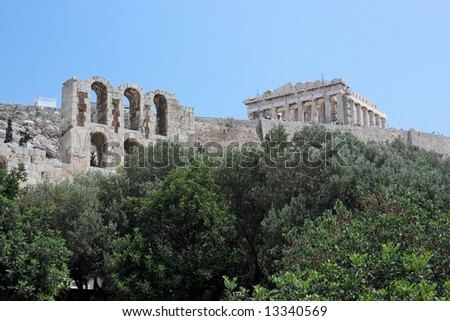 A view of the Acropolis of Athens (Greece) and a part of the facade of the ancient theater of Herod Atticus