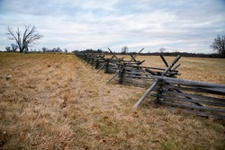 A view of the American Civil War battlefield with barricades in Gettysburg, Pennsylvania