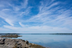 A view of the Atlantic Ocean from a beach in Bar Harbor, Maine