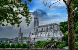 a view of the basilica of Lourdes, France