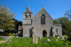 A view of the beautiful St. Nicolas Church in the village of Pevensey in East Sussex, UK.