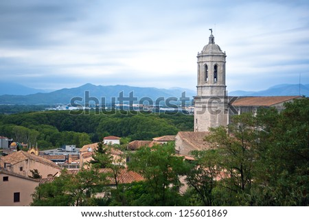 A View of the Cathedral Bell tower in Girona, Spain