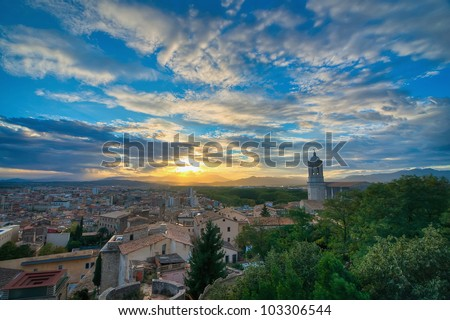 A View of the Cathedral Belltower in Girona, Spain