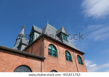 A view of the Central New Jersey Railroad Terminal building at Liberty State Park.