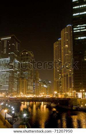 A view of the Chicago river by night - stock photo