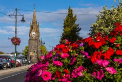 A view of the Clock Tower in the historic city of Waterford in the Republic of Ireland.