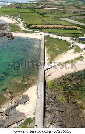 A view of the coast of Normandy, taken from the lighthouse Gatteville - stock photo