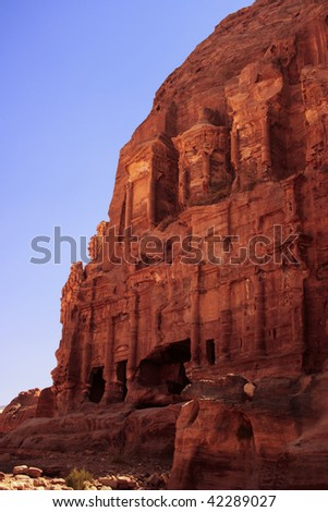 A view of the Corinthian Tomb at Petra in Jordan. This is one of a group of huge carved mausoleums known as the Royal Tombs.