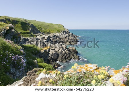 A view of the Cornish coastline, United Kingdom.