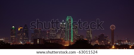 A view of the Dallas Skyline from the West at dusk, just after sunset.
