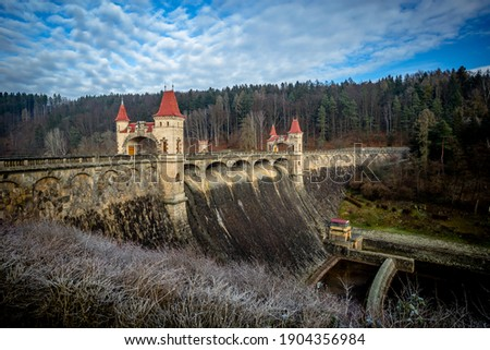 A view of the Dam on the Most Beautiful Dam in the Czech Republic Les Království on a Clear Winter Morning Zdjęcia stock ©