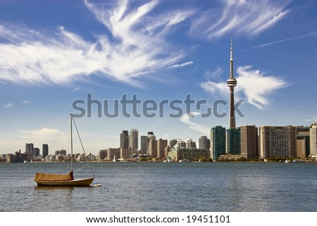 A view of the downtown Toronto skyline taken from Toronto Islands