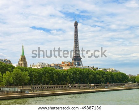 A view of the Eiffel tower from the river Seine.