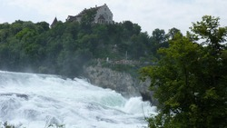 A view of the famous Rhine Falls with the Laufen Castle in the background