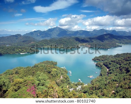 A view of the famous Sun Moon Lake in Taiwan - stock photo