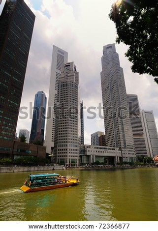 A view of the financial district by the Singapore river.
