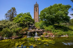 A view of the historic Cabot Tower, located in Brandon Hill Park in the city of Bristol, UK.