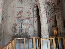 A view of the interiors of a cave church in Goreme, Cappadocia