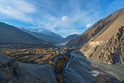 A view of the Kagbeni village in the Mustang region of Nepal. The Kali Gandaki river can be seen on the right and the Nilgiri peak can be seen in the background.