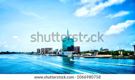 A view of the Lagos Lagoon, Victoria Island in Lagos, Nigeria #1066980758