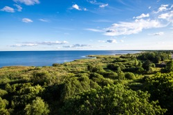 A view of the lake against clear blue sky on a sunny day, Estonia