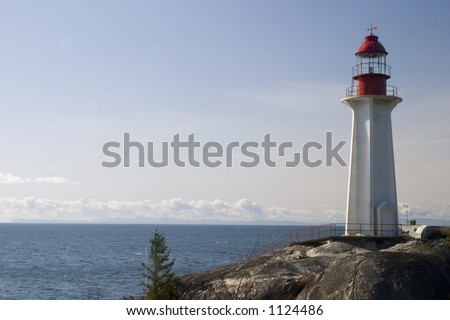 A view of the lighthouse at Lighthouse Park, West Vancouver, Canada.