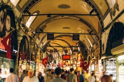 A view of the local Grand Bazaar, Istanbul, Turkey