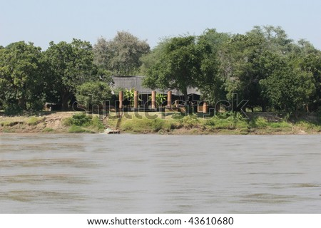 A view of the Luangwa River Lodge in the South Luangwa Valley, Zambia