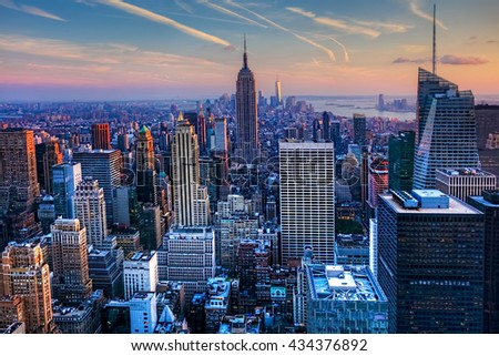 A View of the Manhattan Skyline at Twilight #434376892