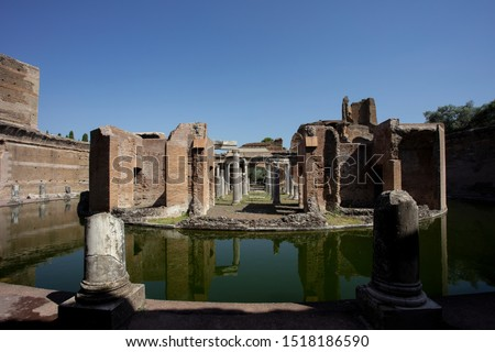 A view of the Maritime Theatre (Teatro Maritime) in Hadrian's Villa (Villa Adriana) in Tivoli. It is believed that this was a private retreat for the emperor within the palace complex. #1518186590