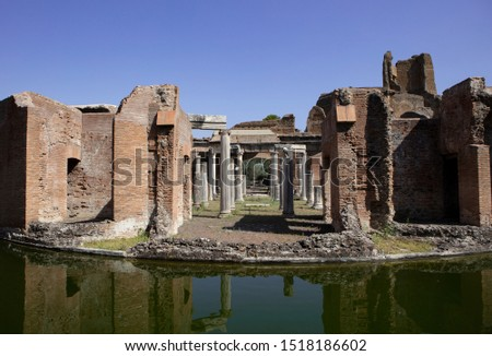 A view of the Maritime Theatre (Teatro Maritime) in Hadrian's Villa (Villa Adriana) in Tivoli. It is believed that this was a private retreat for the emperor within the palace complex. #1518186602