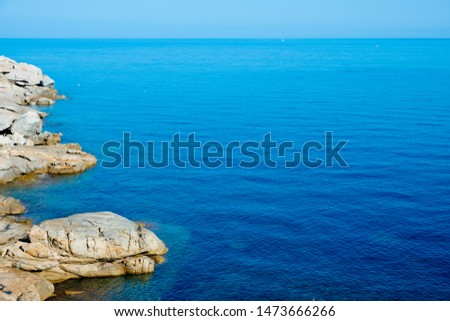 a view of the Mediterranean sea and the rock formations of Punta San Francesco promontory in Calvi, Corse, in France #1473666266