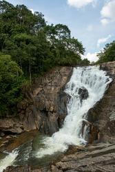 A view of the Meenmutty falls near Kalpetta in the district of waynad, Kerala