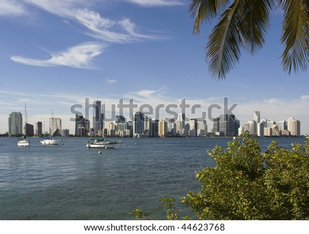 A view of the Miami skyline as seen from across Biscayne Bay
