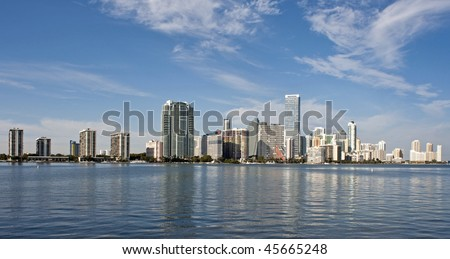A view of the Miami skyline from across Biscayne Bay.