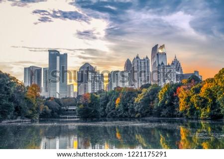 A view of the midtown Atlanta skyline from the nostalgic Piedmont Park.