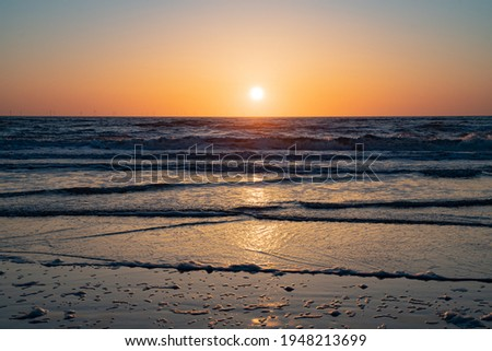a view of the North Sea from the beach at sunset Egmond aan Zee, the Netherlands Stockfoto ©