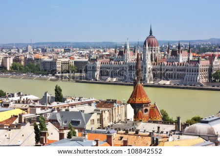 A view of the Parliament from the Fishermens Bastion located in the Buda part of the city of Budapest, Hungary - stock photo