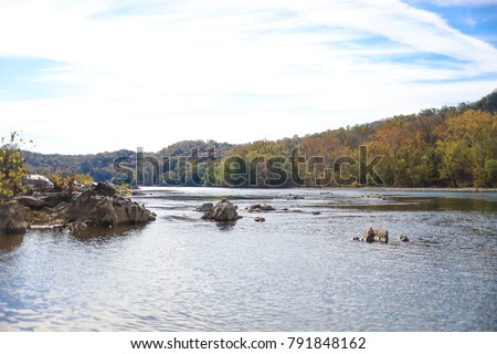 A view of the Potomac River from the Billy Goat Trail in Washington, D.C. with a view of Virginia.