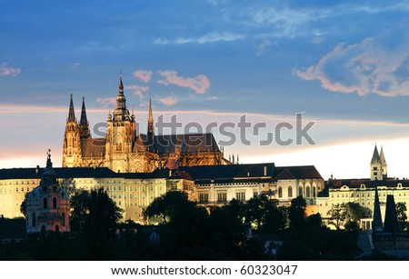 A view of the Prague Castle at Night Time
