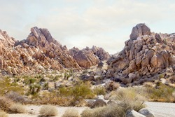 A view of the rocky terrain, seen in Joshua Tree National Park.
