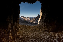 A view of the Settsass mountain in the italian Dolomites from ad historical First World War cave.