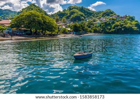 A view of the shoreline at Barrouallie, Saint Vincent