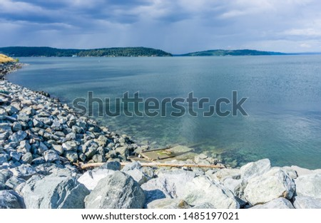 A view of the shoreline at Dune Peninsula Park and the Puget Sound.