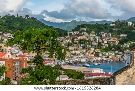 A view of the shoreline of the inner harbour in St Georges, Grenada