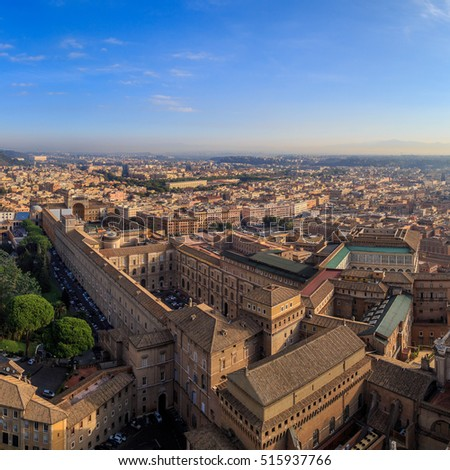 A view of the Sistine Chapel and the Vatican in Rome from the dome of St. Peter, sunny morning