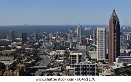 A view of the skyline of Atlanta, Georgia. - stock photo