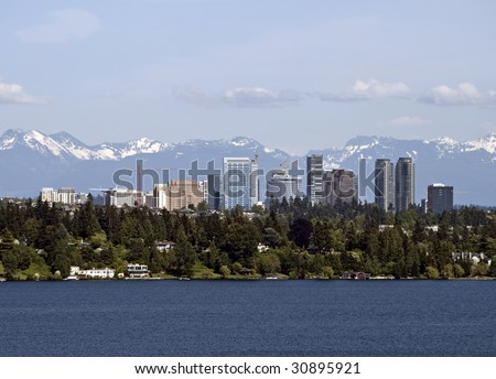 A view of the skyline of Bellevue Washington as seen from across Lake Washington - stock photo