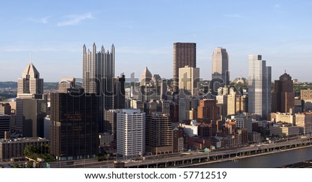 A view of the skyline of downtown Pittsburgh, Pennsylvania.