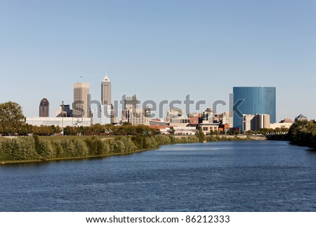 A view of the skyline of Indianapolis, Indiana.